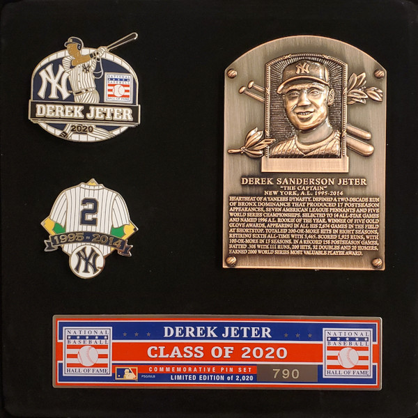 Derek Jeter Hall of Fame Exclusive 3 Piece Pin Set with Plaque Bust Ltd Ed of 2,020