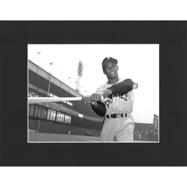 Matted 8x10 Photo- Roberto Clemente Swing Pose