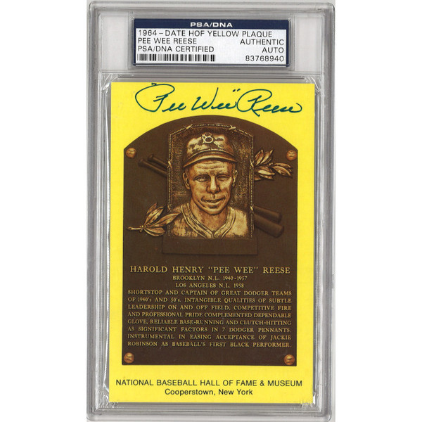 Pee Wee Reese Autographed Hall of Fame Plaque Postcard (PSA-40)