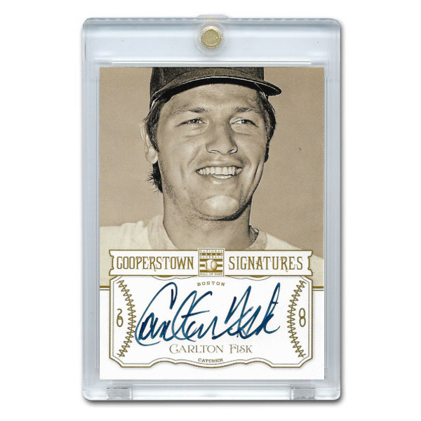 Carlton Fisk Autographed Card 2013 Panini Cooperstown Signatures Ltd Ed of 90
