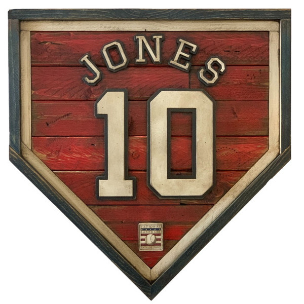 Chipper Jones Hall of Fame Vintage Distressed Wood 20 Inch Heritage Red Home Plate