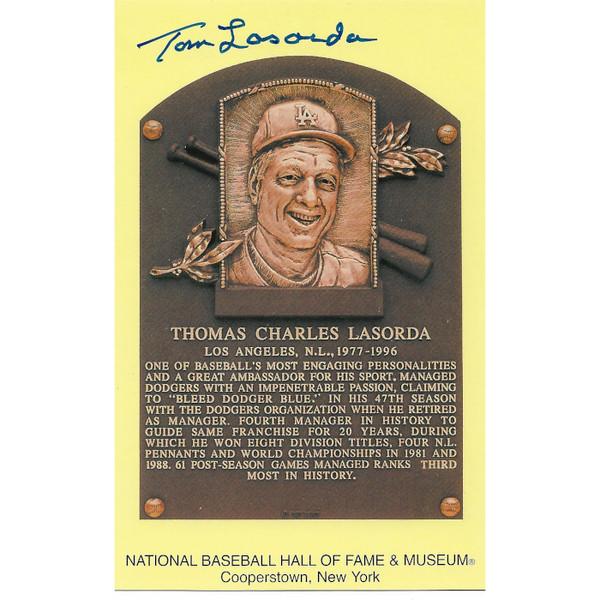 Tommy Lasorda Autographed Hall of Fame Plaque Postcard (PSA-53)