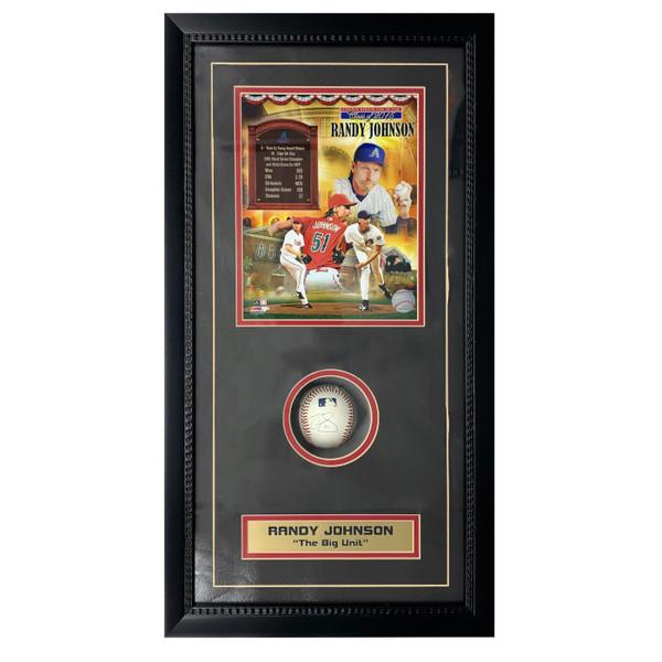 Randy Johnson Autographed Baseball with 8x10 Photograph Shadow Box