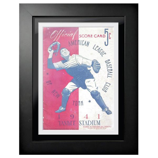 New York Yankees 1941 Scorecard Cover 18 x 14 Framed Print