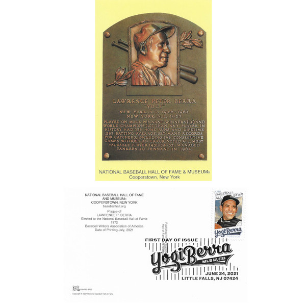 Yogi Berra First Day Cancelled Stamped HOF Plaque Postcard with Berra Museum Cancellation