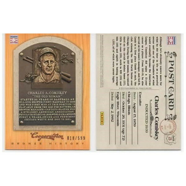 Charles Comiskey 2012 Panini Cooperstown Bronze History Baseball Card Ltd Ed of 599