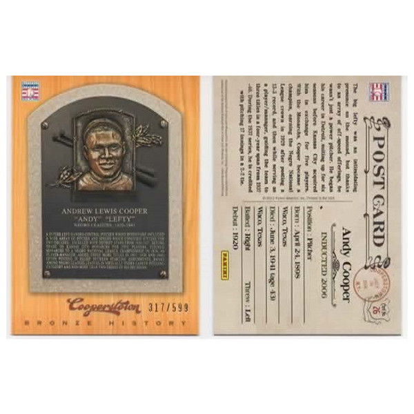 Andy Cooper 2012 Panini Cooperstown Bronze History Baseball Card Ltd Ed of 599