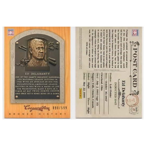 Ed Delahanty 2012 Panini Cooperstown Bronze History Baseball Card Ltd Ed of 599
