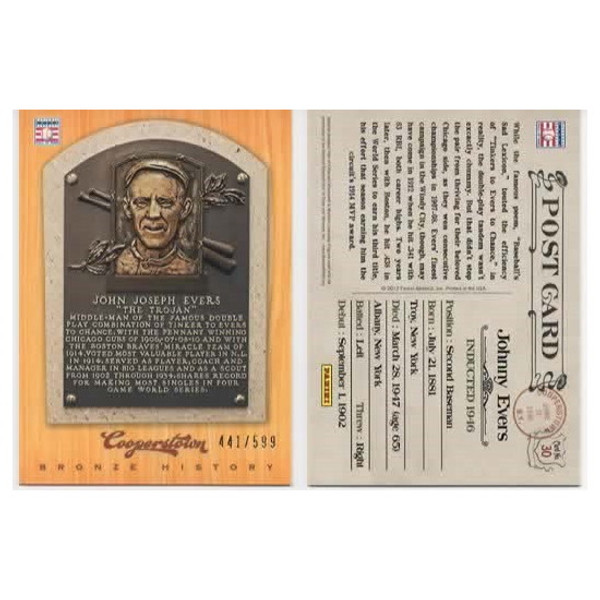 Johnny Evers 2012 Panini Cooperstown Bronze History Baseball Card Ltd Ed of 599