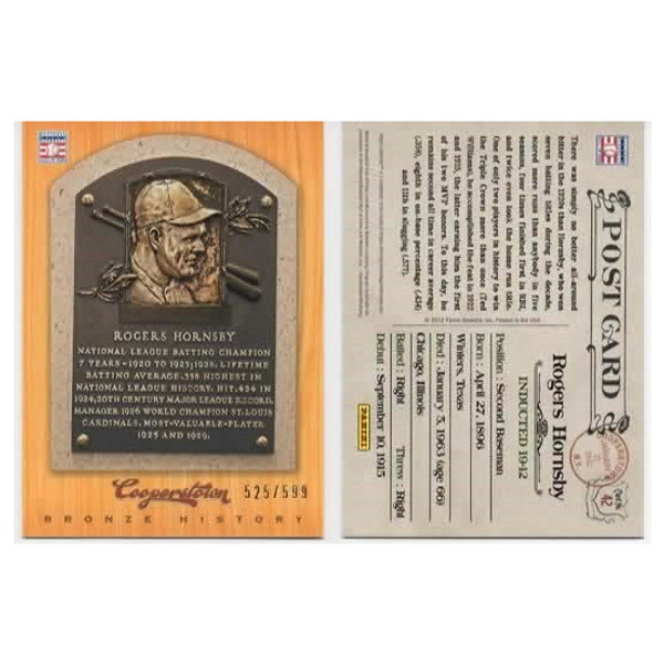 Rogers Hornsby 2012 Panini Cooperstown Bronze History Baseball Card Ltd Ed of 599