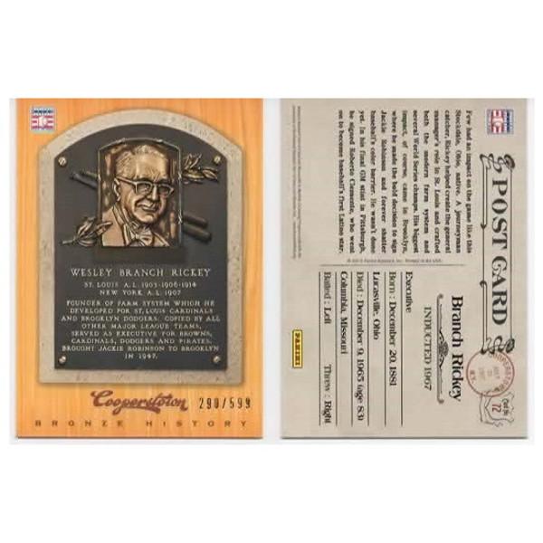 Branch Rickey 2012 Panini Cooperstown Bronze History Baseball Card Ltd Ed of 599