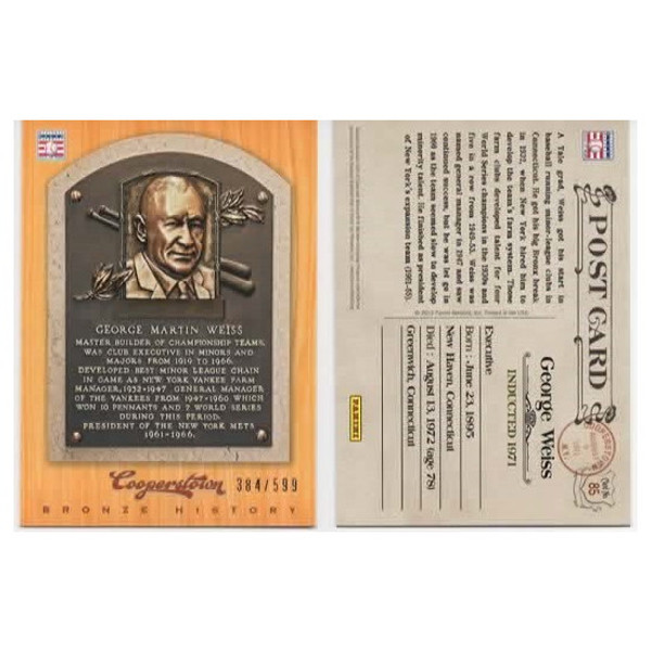 George Weiss 2012 Panini Cooperstown Bronze History Baseball Card Ltd Ed of 599