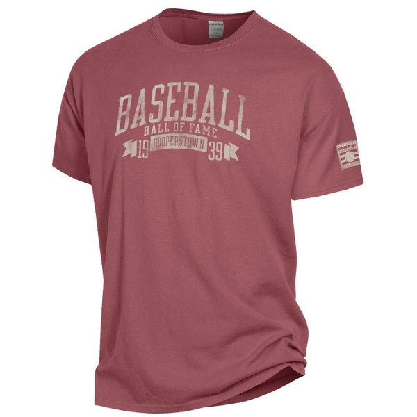 Men's Baseball Hall of Fame 1939 Cooperstown Cayenne Red Vintage Dyed T-Shirt