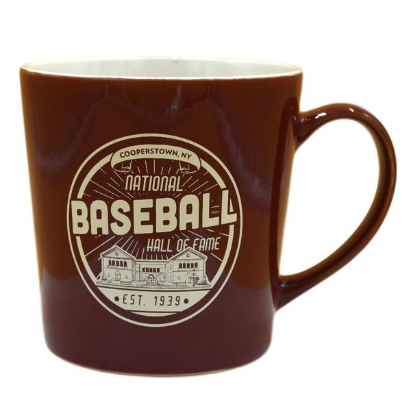 Baseball Hall of Fame Building Maroon Established 1939 Mug