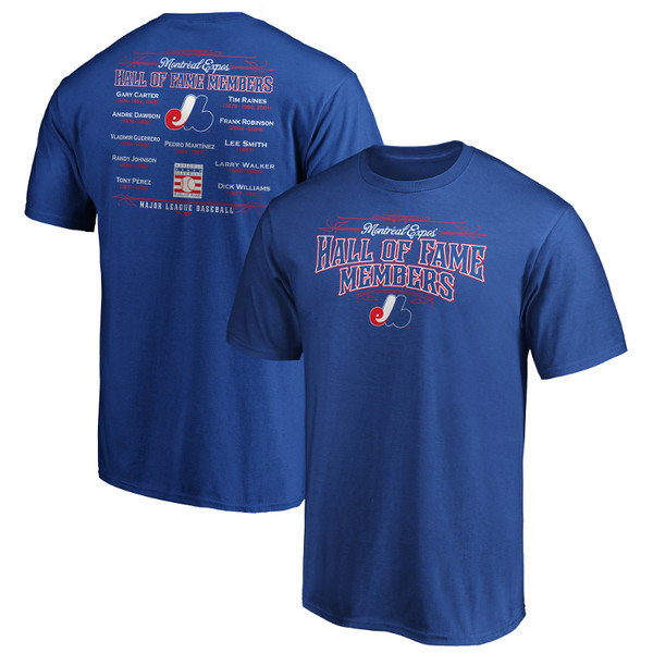 Men's Montreal Expos Royal Team Hall of Famer Roster T-Shirt
