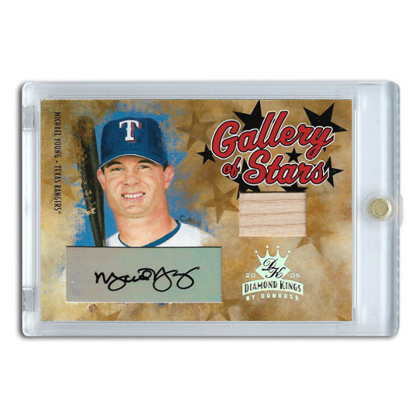 Michael Young Autographed Card 2005 Donruss Diamond Kings Gallery of Stars #GS-21 Ltd Ed of 100