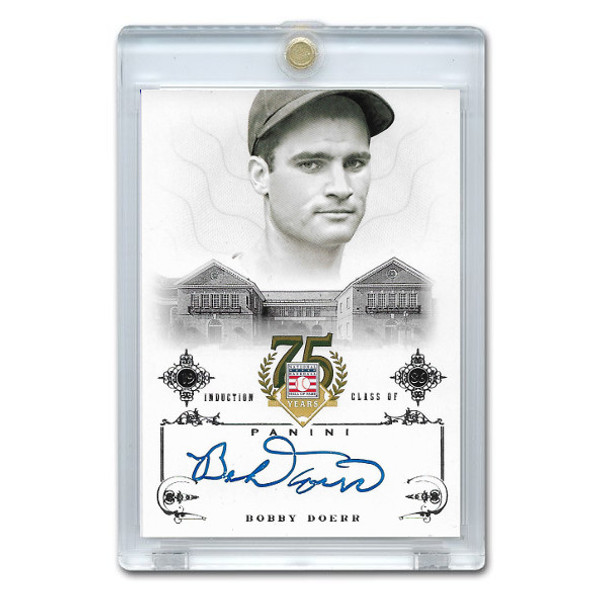 Bobby Doerr Autographed Card 2014 Panini Cooperstown HOF 75th Anniversary # 9