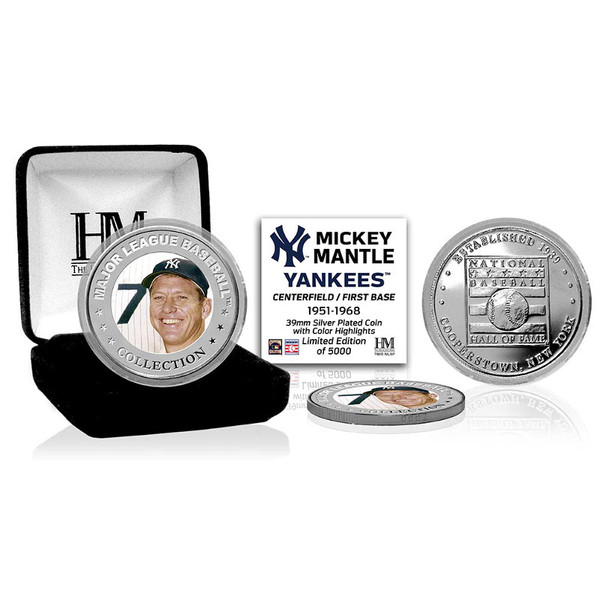 Highland Mint Mickey Mantle New York Yankees Hall of Fame Silver Photo Coin