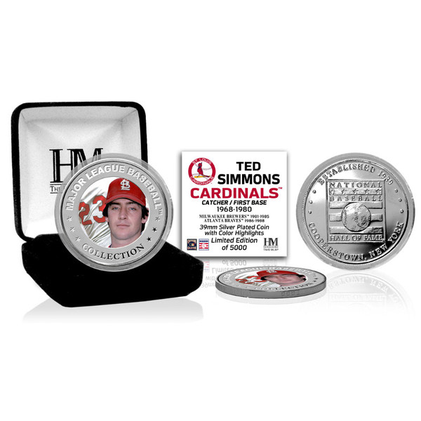Highland Mint Ted Simmons St. Louis Cardinals Hall of Fame Silver Photo Coin