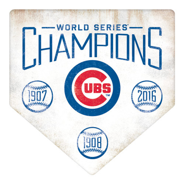 Chicago Cubs World Series Champions Home Plate Metal Wall Art