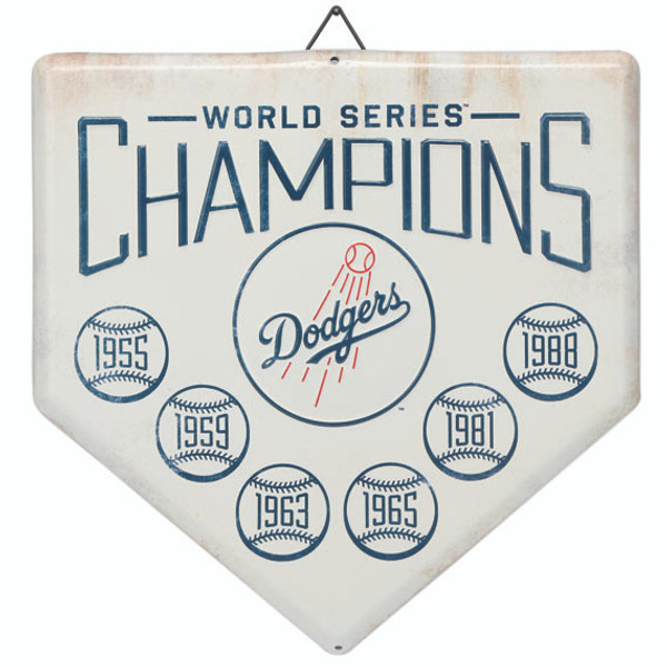 Los Angeles Dodgers World Series Champions Home Plate Metal Wall Art