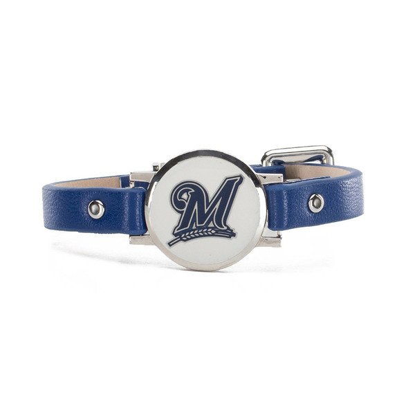 """Rustic Cuff Milwaukee Brewers Leather Women's """"Betsy"""" Bracelet"""