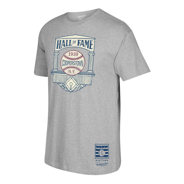 Men's Mitchell & Ness 1939 Hall of Fame, Cooperstown Logo Heather Grey T-Shirt