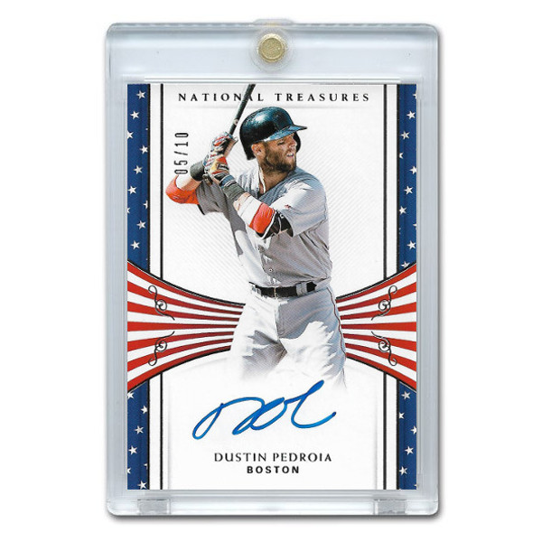 Dustin Pedroia Autographed Card 2018 Panini National Treasures Stars and Stripes Ltd Ed of 10