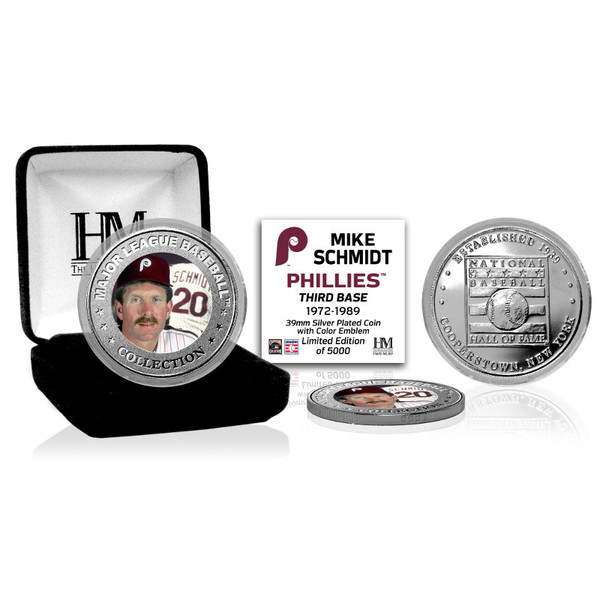 Highland Mint Mike Schmidt Philadelphia Phillies Hall of Fame Silver Photo Coin