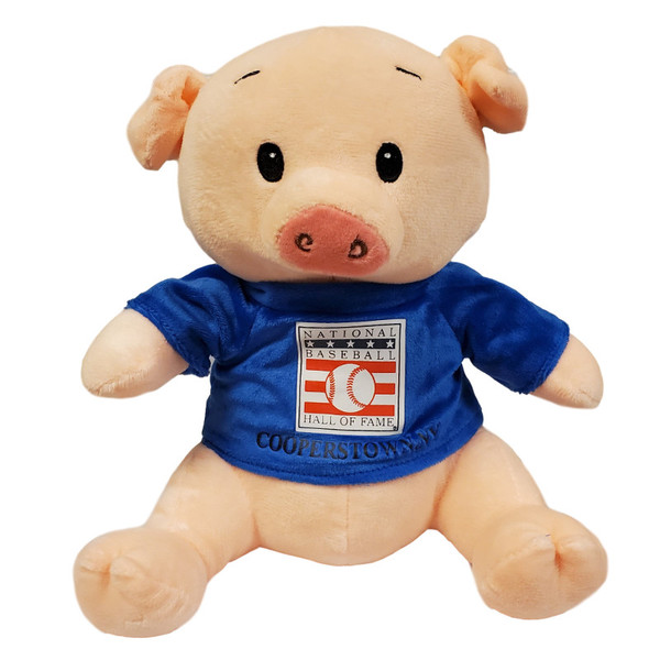 "Baseball Hall of Fame 13"" Plush Pig with Blue HOF T-Shirt"