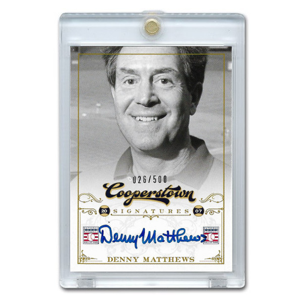 Denny Mathews Autographed Card 2012 Panini Cooperstown Ltd Ed of 500