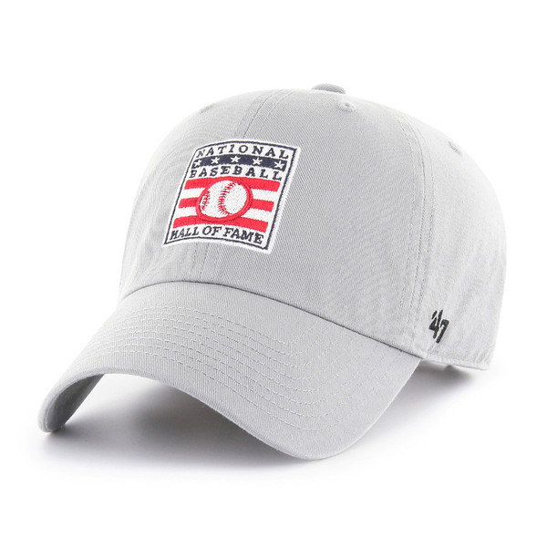 Men's '47 Brand Baseball Hall of Fame Official Logo Light Grey Clean Up Adjustable Cap