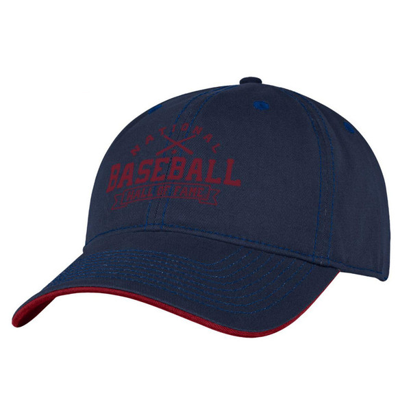 Men's Baseball Hall of Fame Navy Banner Crossed Bats Adjustable Cap