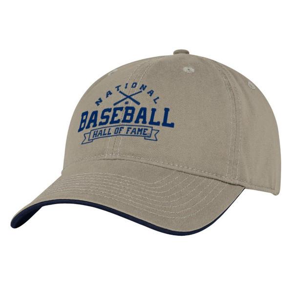 Men's Baseball Hall of Fame Khaki Banner Crossed Bats Adjustable Cap
