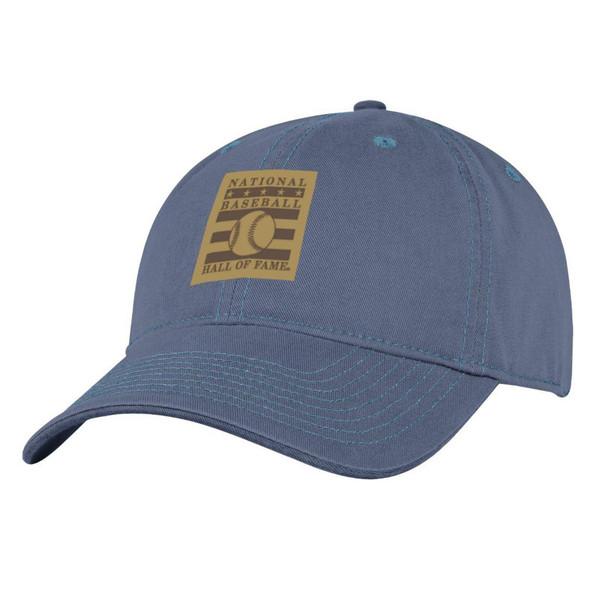 Men's Baseball Hall of Fame Washed Blue Leather Logo Patch Adjustable Cap