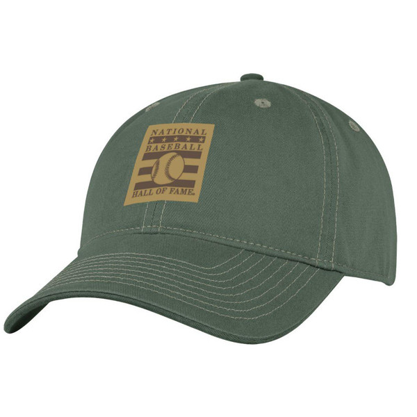 Men's Baseball Hall of Fame Washed Green Leather Logo Patch Adjustable Cap
