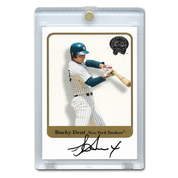 Bucky Dent Autographed Card 2001 Fleer Greats of the Game