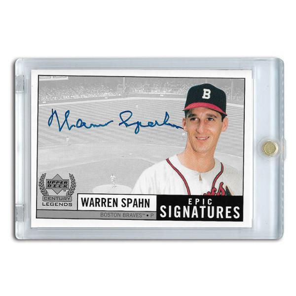 Warren Spahn Autographed Card 1999 Upper Deck Century Legends