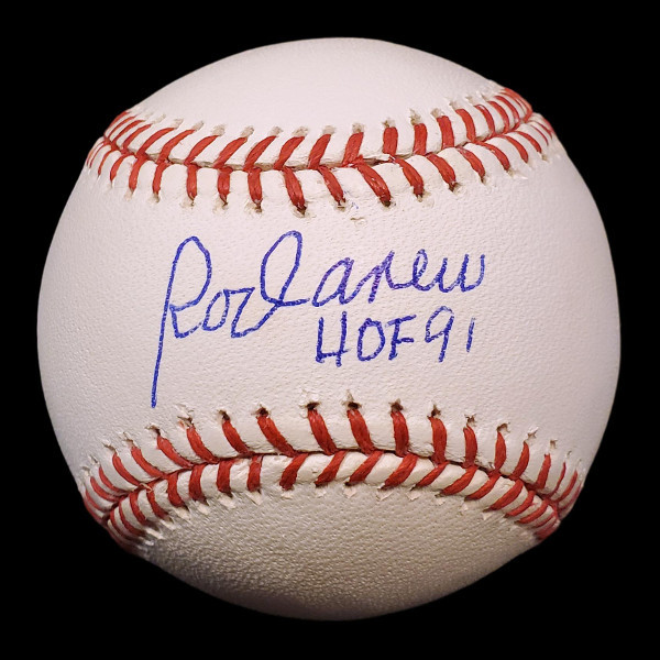 Rod Carew Autographed Rawlings OML Baseball with HOF 91 Inscription (Steiner)