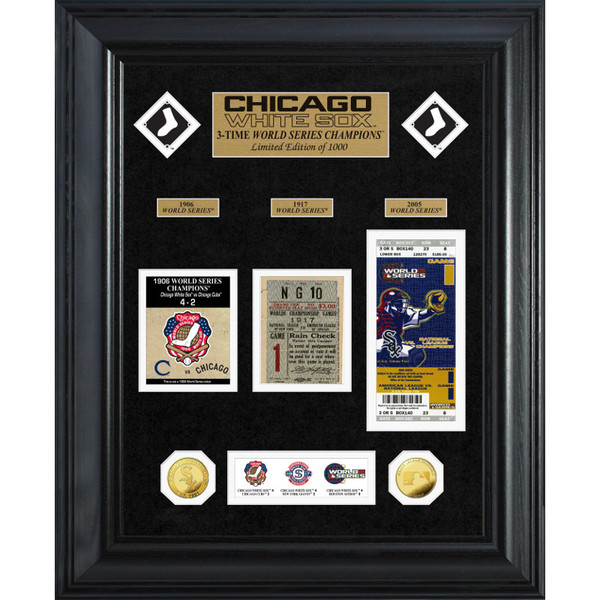 Highland Mint Chicago White Sox World Series Deluxe Framed Gold Coin & Replica Ticket Collection