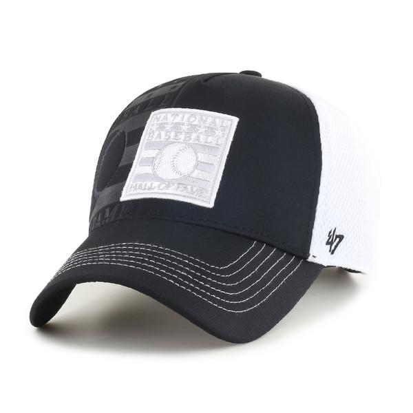 Men's '47 Brand Baseball Hall of Fame Logo Flagon Adjustable Black and White Cap