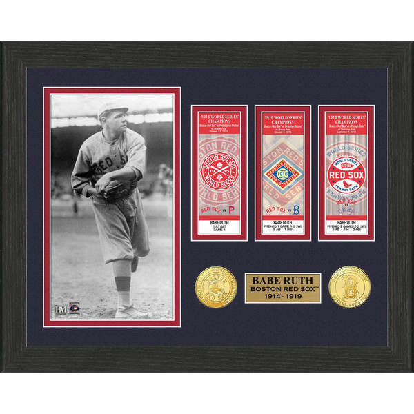Highland Mint Babe Ruth Boston Red Sox Framed 12 x 15 World Series Ticket Collection