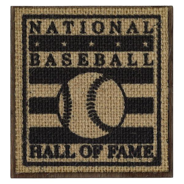 Baseball Hall of Fame 3 Inch Wood & Burlap Logo Magnet