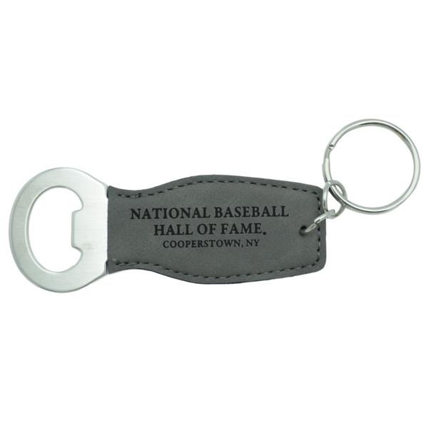 Baseball Hall of Fame Leather Bottle Opener Keychain