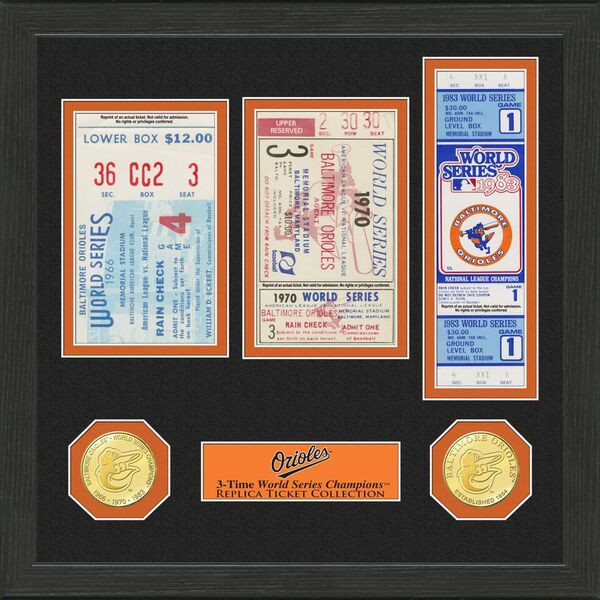 Highland Mint Baltimore Orioles Framed World Series Replica Ticket Collection