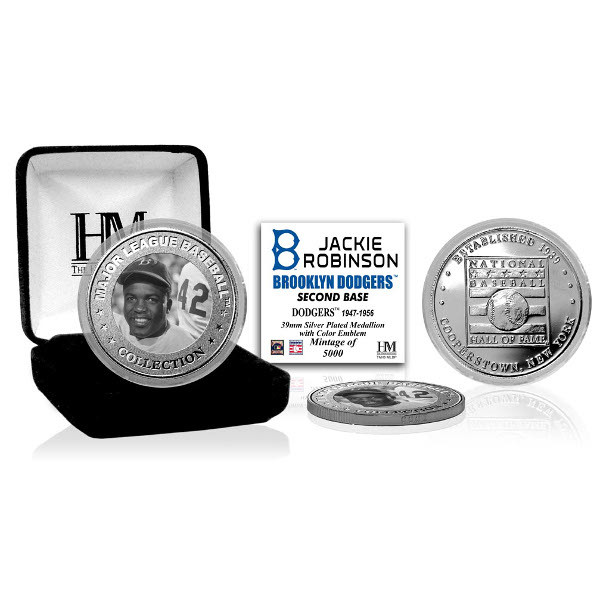 Highland Mint Jackie Robinson Brooklyn Dodgers Hall of Fame Silver Photo Coin