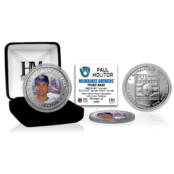 Highland Mint Paul Molitor Milwaukee Brewers Hall of Fame Silver Photo Coin