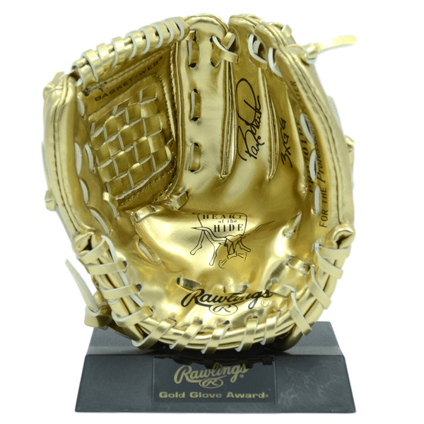Barry Larkin Autographed Rawlings Mini Gold Glove Award With Inscription (MAB)