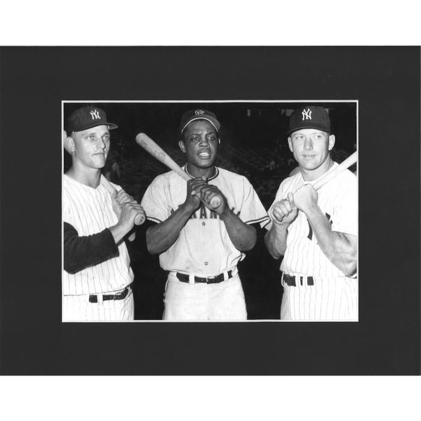 Matted 8x10 Photo- Roger Maris, Willie Mays and Mickey Mantle