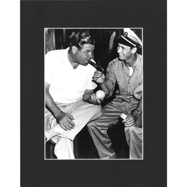 Matted 8x10 Photo- Babe Ruth and Ted Williams